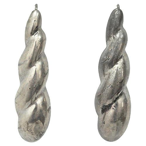 Twisted Sterling Silver Drop Earrings