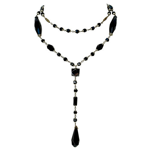 Black Rosary-Style Necklace, C. 1920