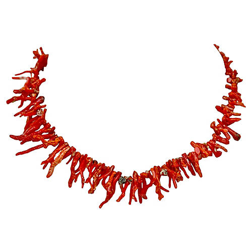 14K Gold & Red Branch Coral Necklace