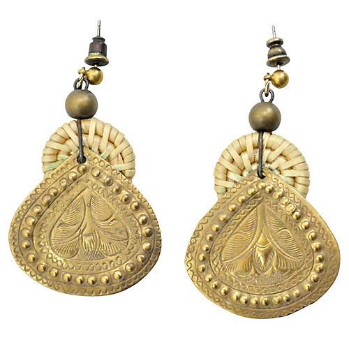 Raffia & Brass Earrings