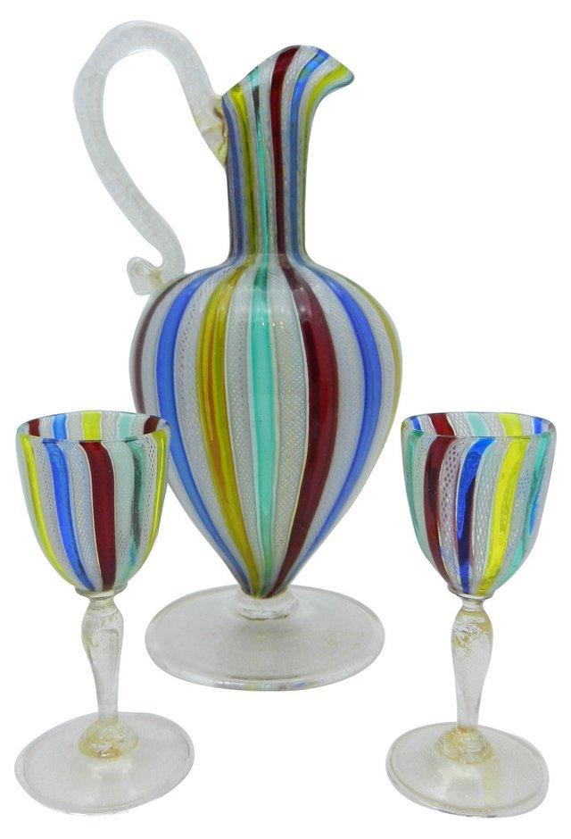 Venetian Ewer & 2 Glasses