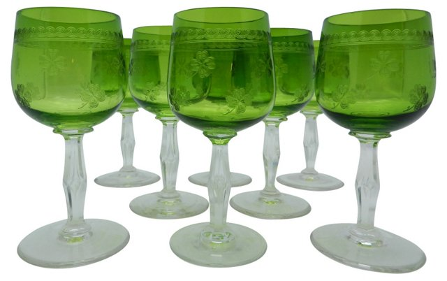 Port Wine Glasses Etched with Shamrocks
