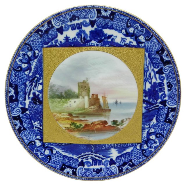 English Hand-Painted Cabinet Plate