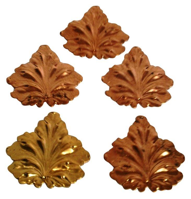 Gilt Brass Leaves, Set of 5