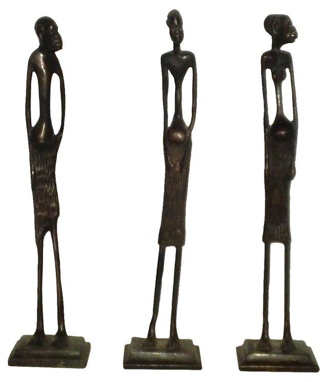 African Bronze Sculptures, Set of 3