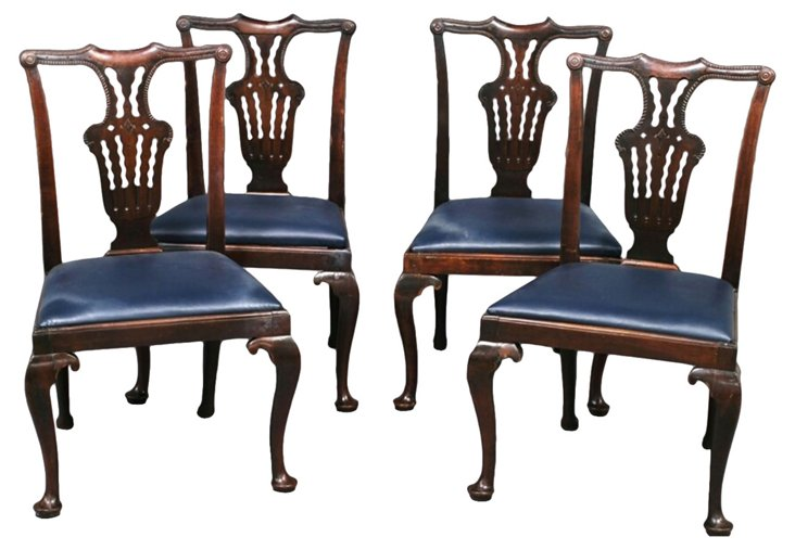 18th-C.  English Chippendale Chairs, S/4