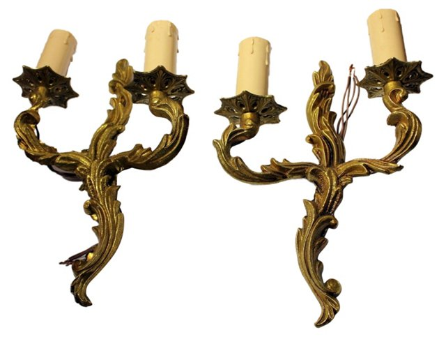 French Louis XV Bronze Sconces, S/4