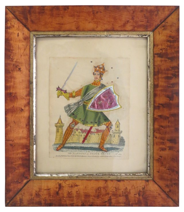 19th-C. English Tinsel Knight Print