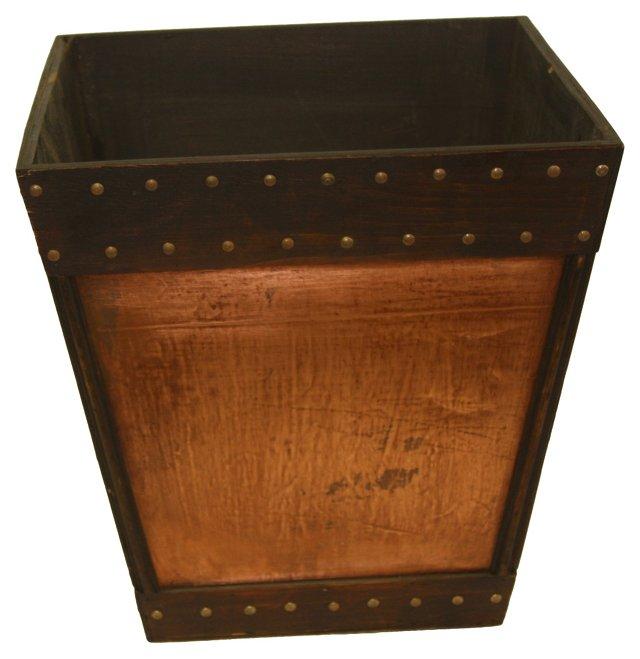 Copper-Sided Wood Bucket