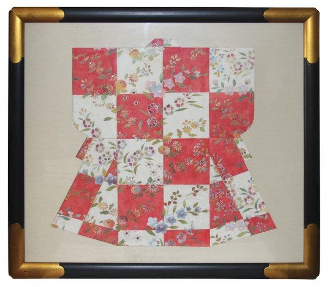 Framed Silk Kimono Fragment