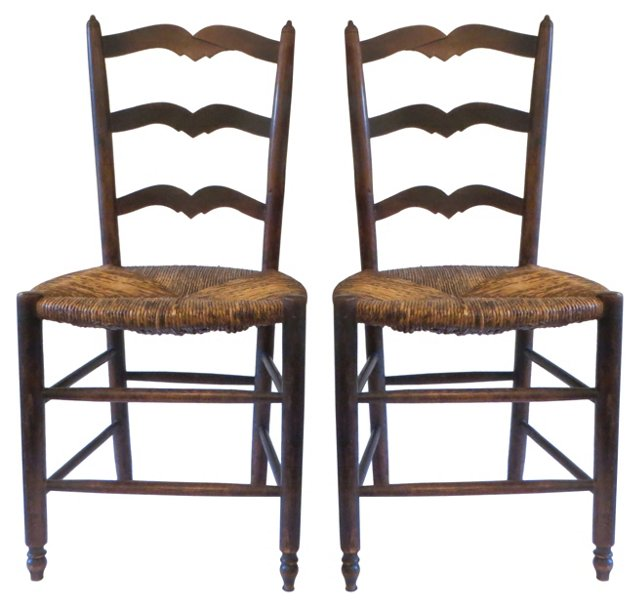 19th-C. Elm   Side Chairs, Pair