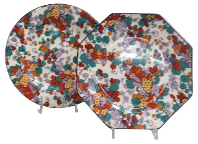 Chintz Plates, Pair