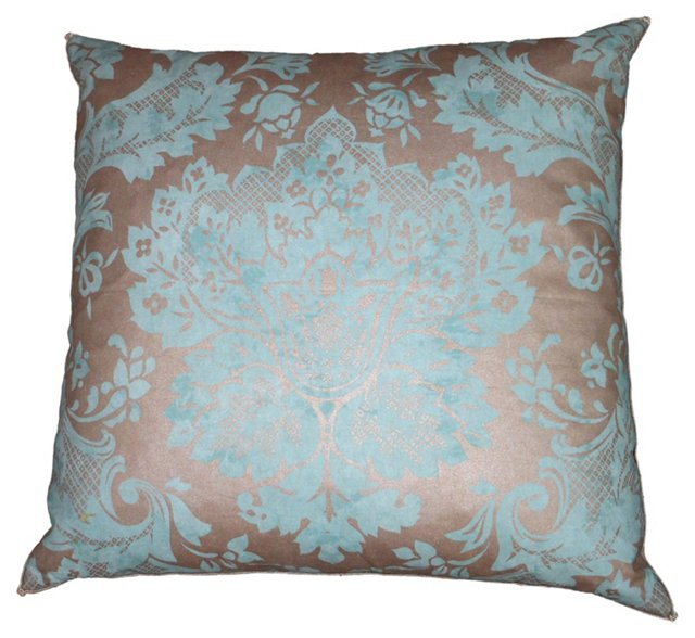 Turquoise & Silver Fortuny-Style Pillow