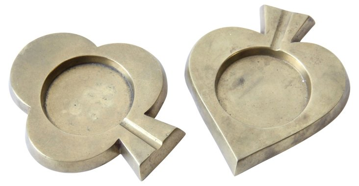 Brass Heart & Spade Dishes, Pair