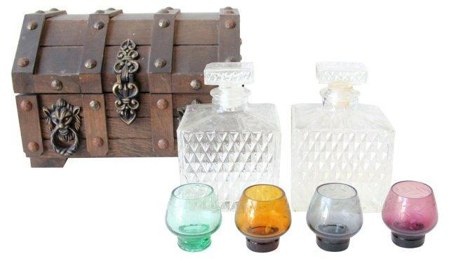 Treasure Chest w/ Portable Bar, 7 Pcs
