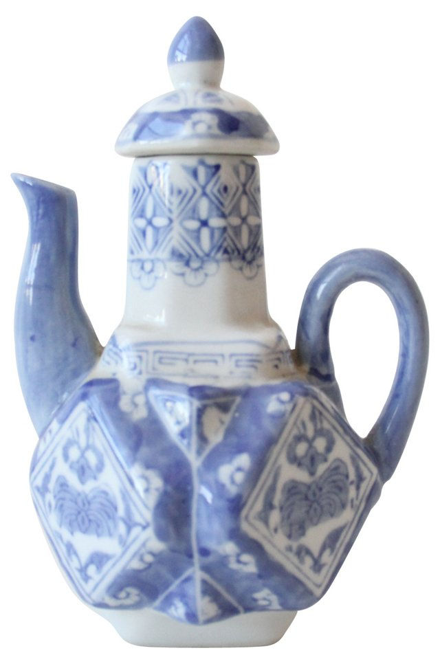 Blue & White Hand-Painted Teapot