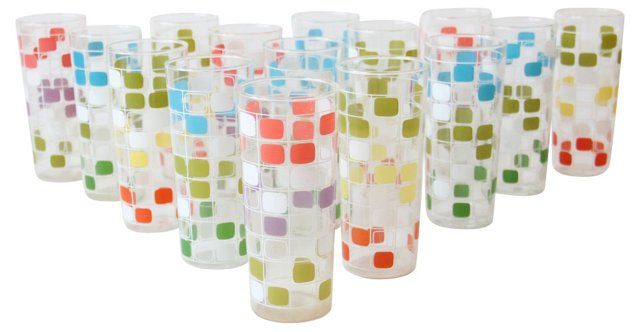 Graphic Cube Glasses, Set of 15