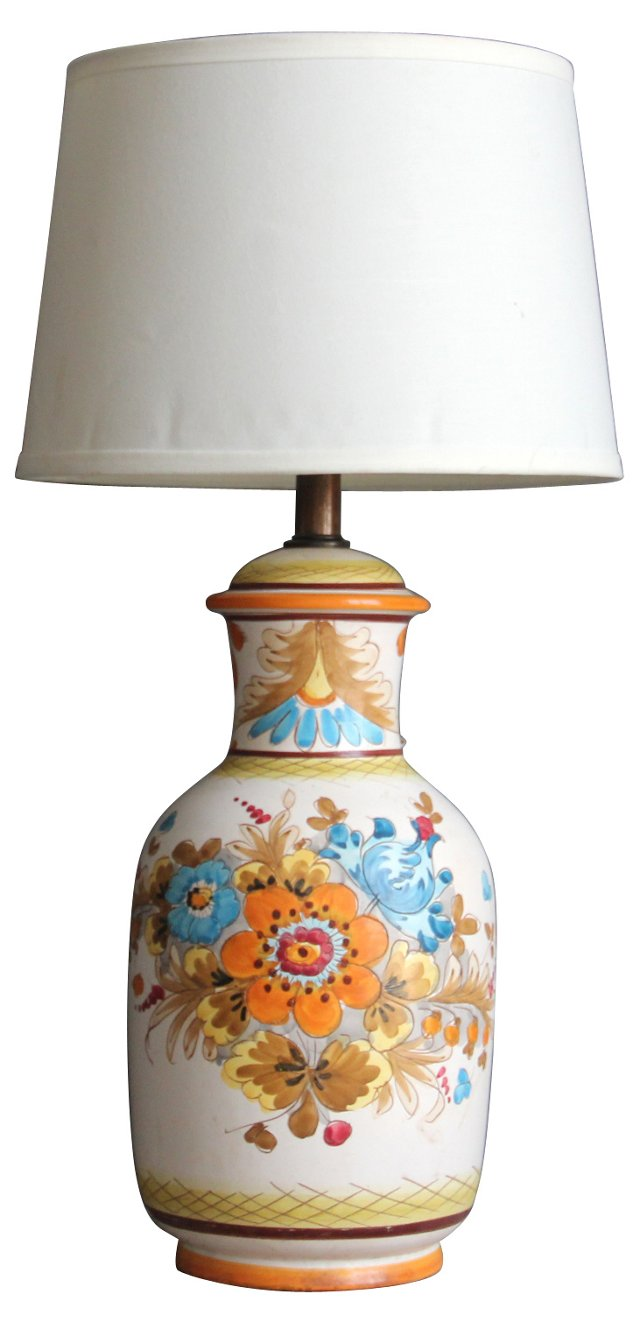 Hand-Painted Floral Lamp