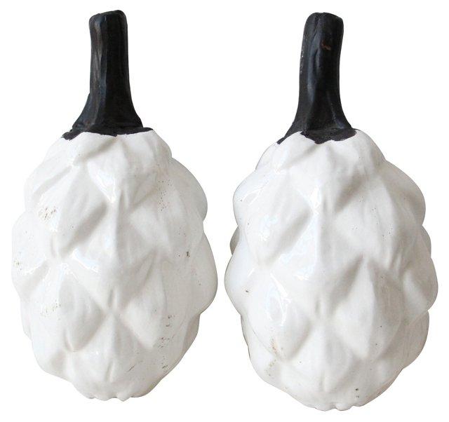 Oversize Ceramic White Artichokes