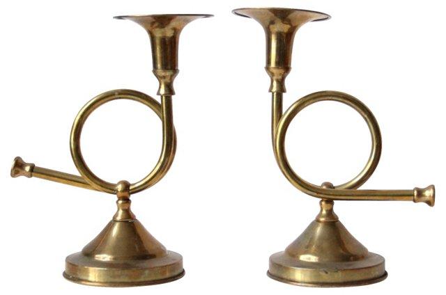 Brass Horn Candleholders, Pair