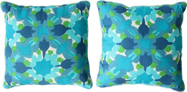 Vera Neumann Ink Blot Pillows, Pair