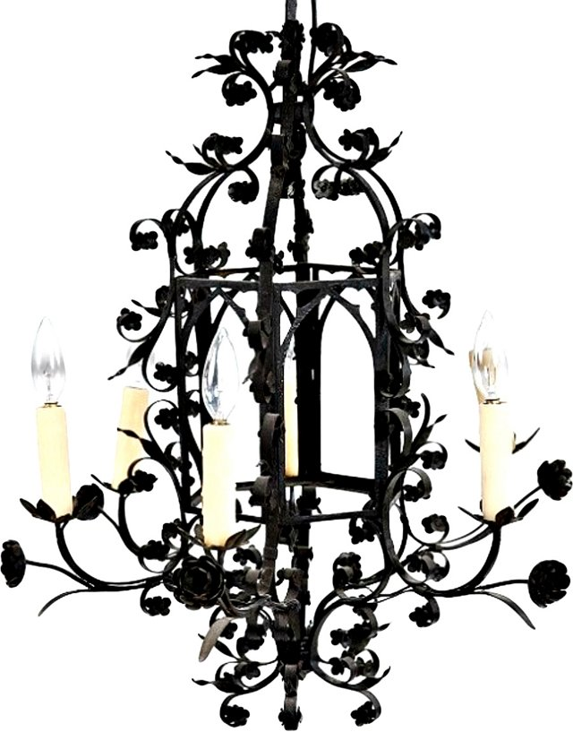 19th-C. European Wrought Iron Chandelier