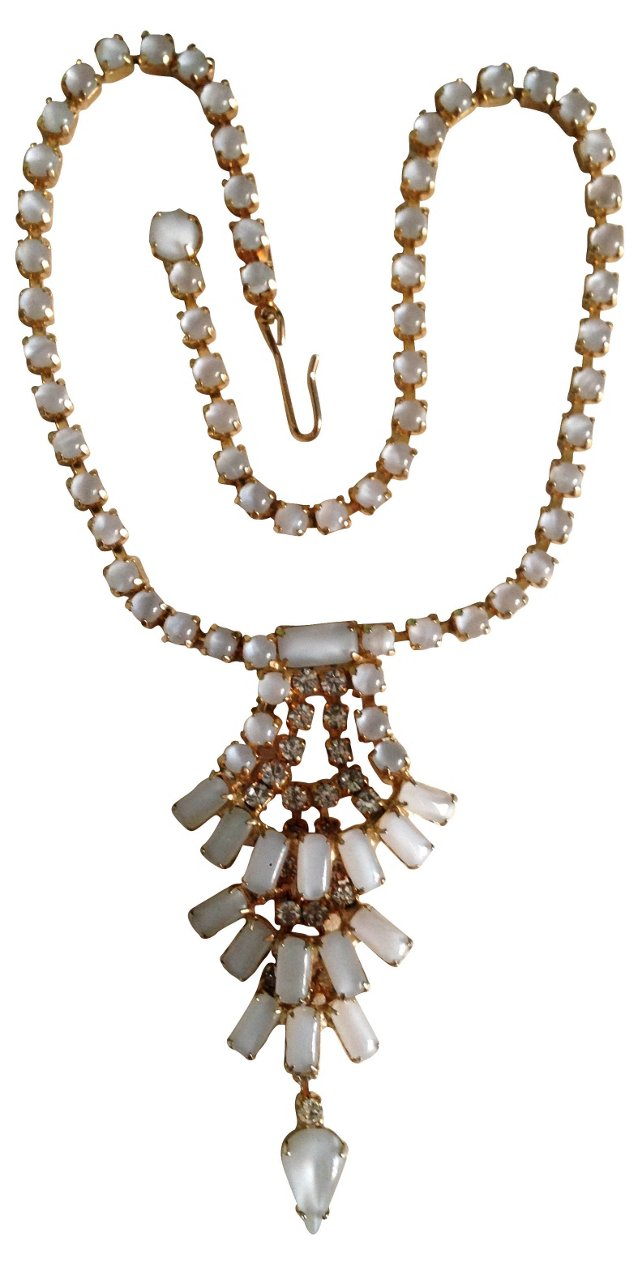 Rhinestone & White Glass Tiered Necklace