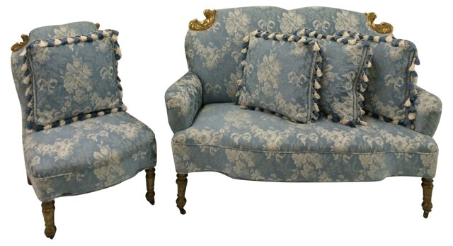 19th-C. American Settee & Slipper Chair