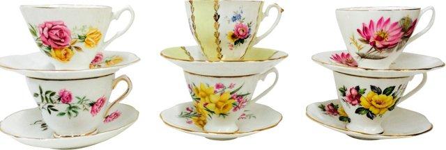 English  Floral Teacups & Saucers, S/6
