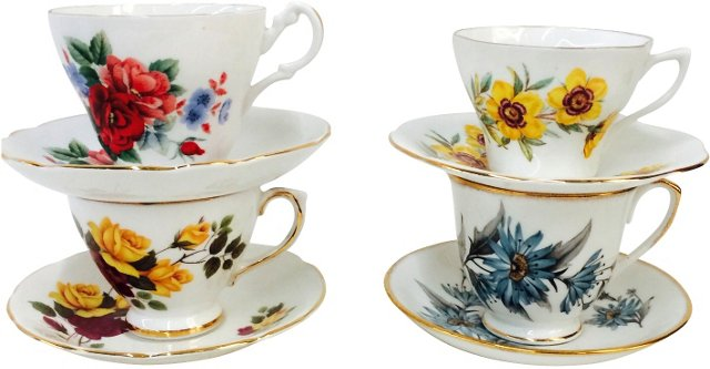 English Floral Teacups & Saucers, S/4