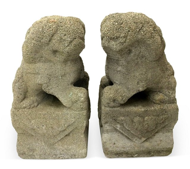 Cement Foo Dogs, Pair