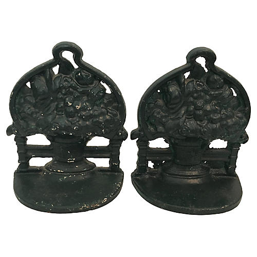 Cast Iron Flower Basket Bookends