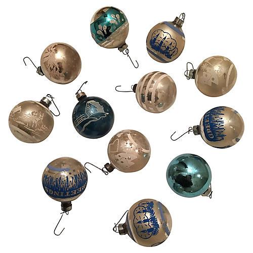Blue & White Ornaments, S/12