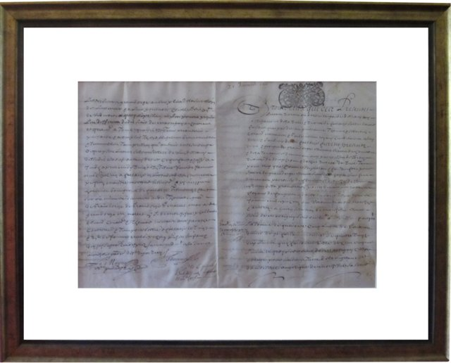 Framed French Letter, 1697