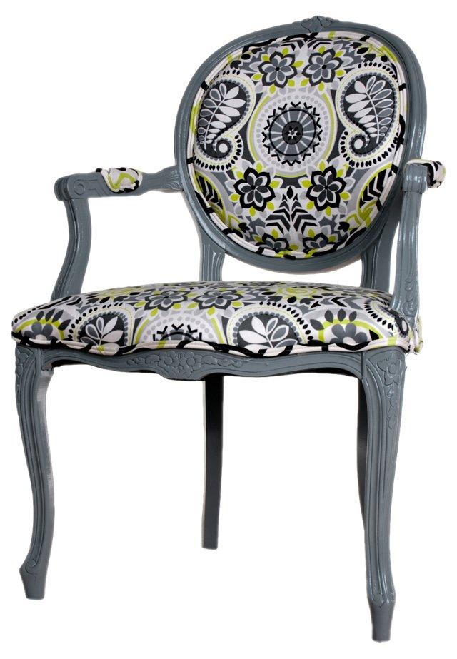 Gray Paisley Armchair