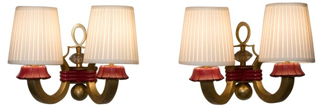1940s French Bronze Sconces, Pair