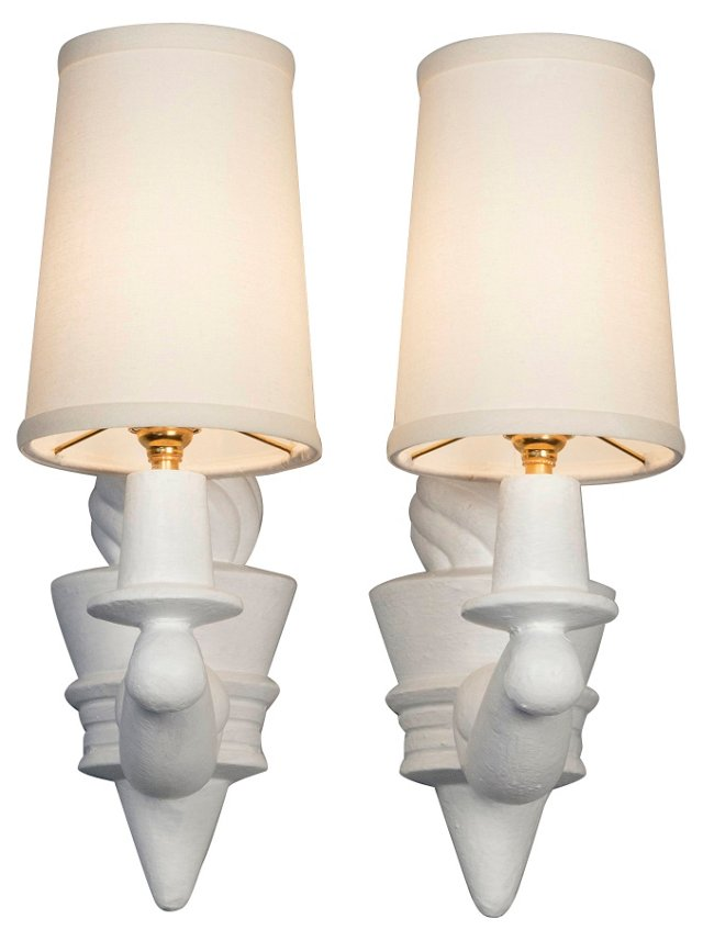 Plaster Torch Sconces by Arlus, Pair
