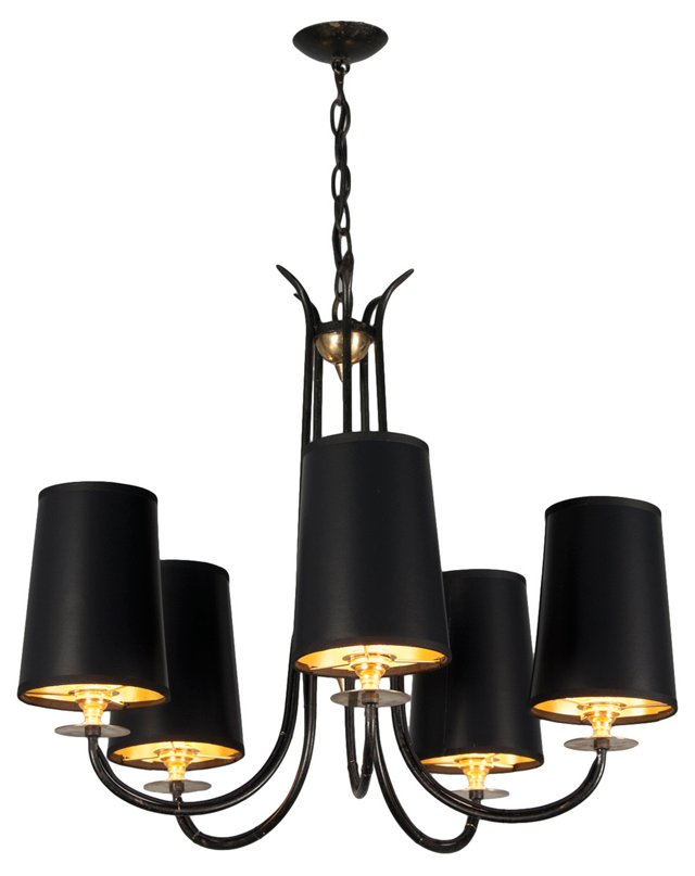 5-Arm Black Iron Chandelier