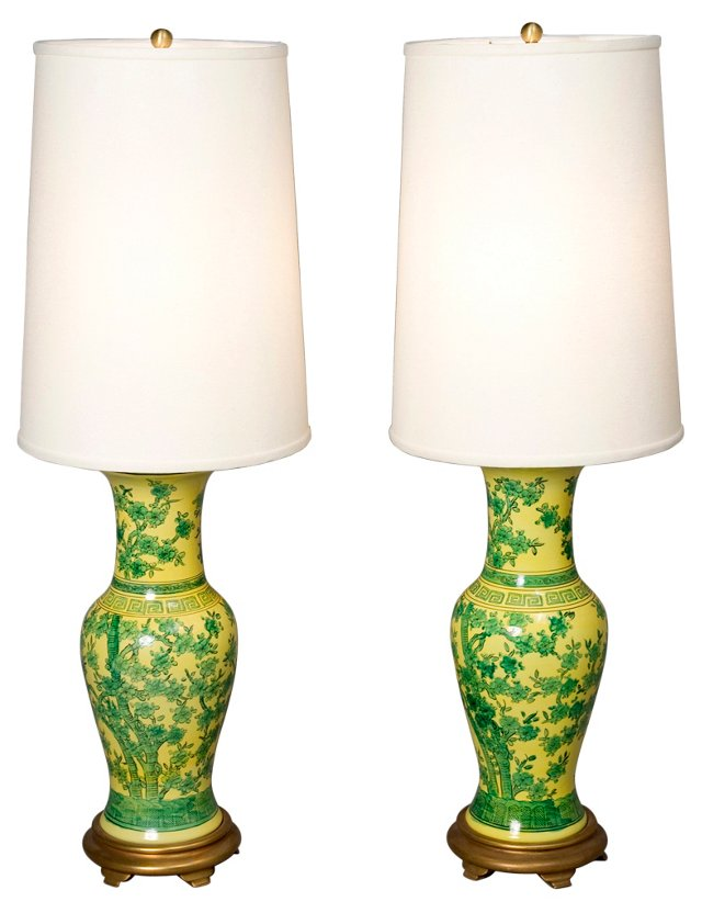 Asian Flower Motif Ceramic Lamps, Pair