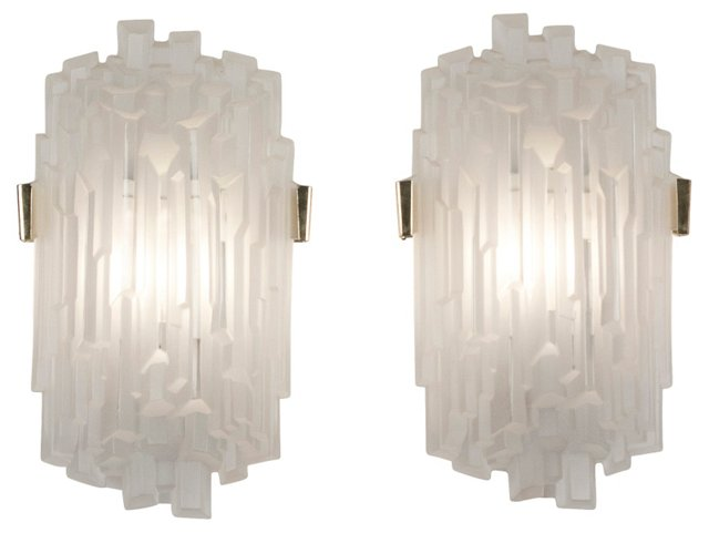 Frosted Glass Icicle Sconces, Pair