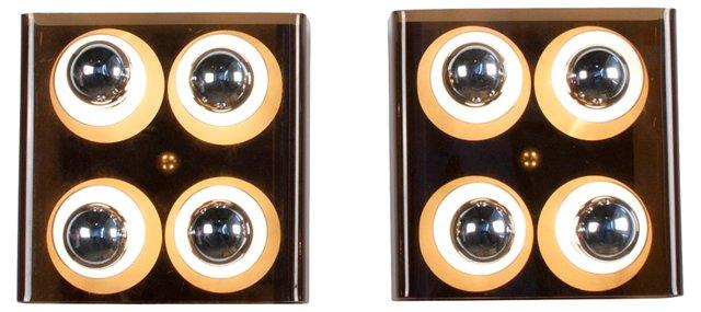 Square Four-Light Sconces, Pair
