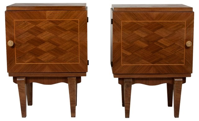 French Parquetry End Tables, Pair