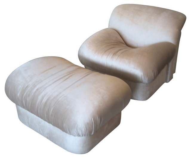 Silk-Upholstered  Chair &  Ottoman
