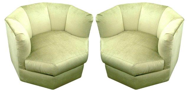 1970s Deco Prisma Swivel Chairs, Pair