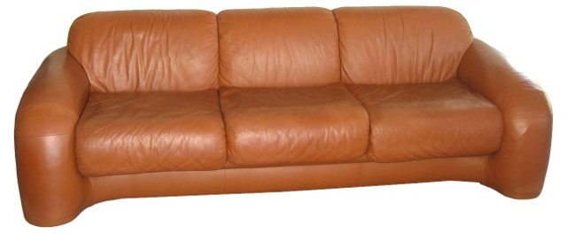 1970s Directional Leather Sofa