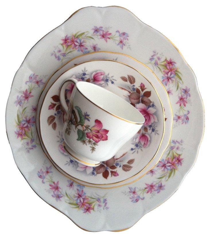 Lavender & Pink Floral China, 4 Pcs