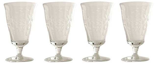 Etched  Wine Glasses, S/4