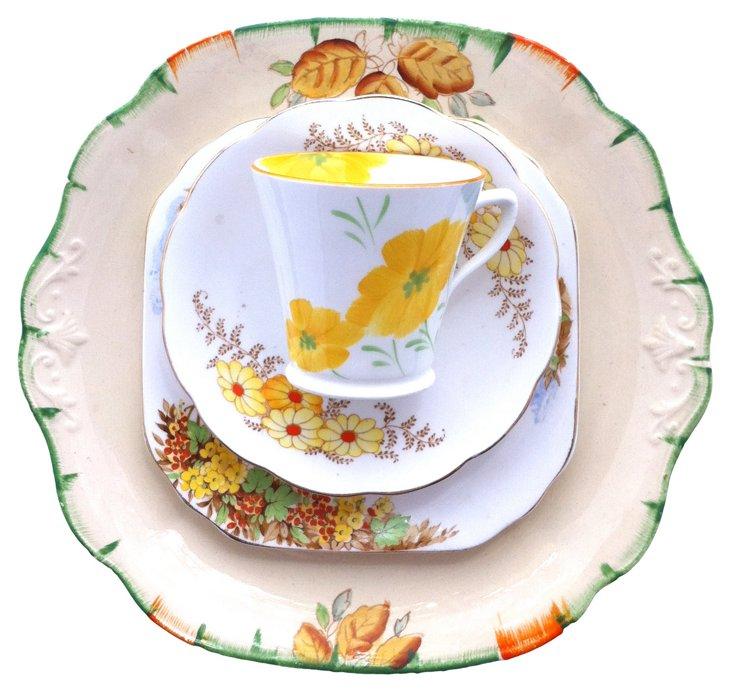 Yellow Floral  China,  4 Pcs