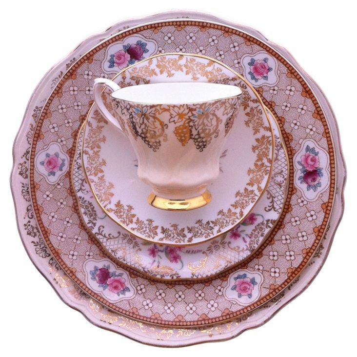 Gold & Pink Rose China, 5 Pcs
