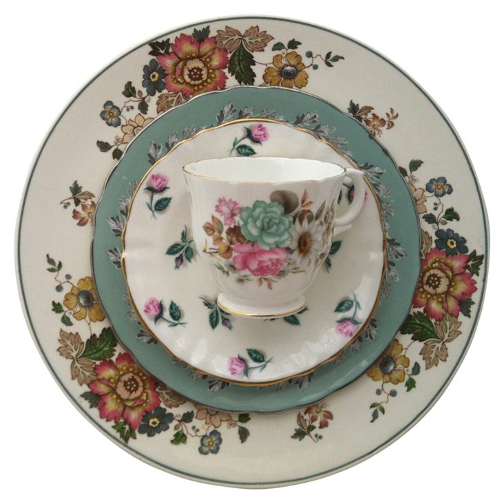 Fall  Floral China, 4 Pcs